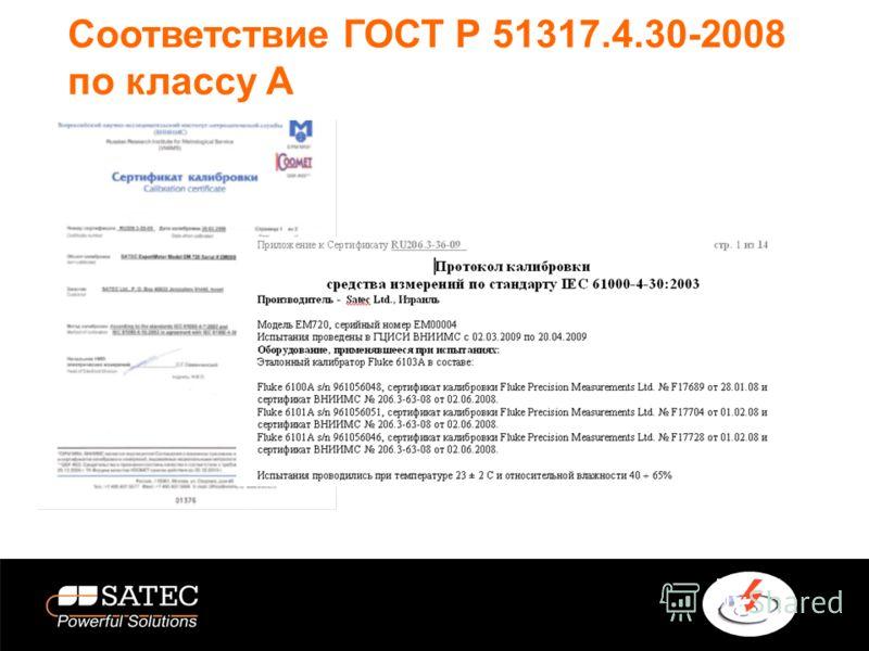 Соответствие ГОСТ Р 51317.4.30-2008 по классу А