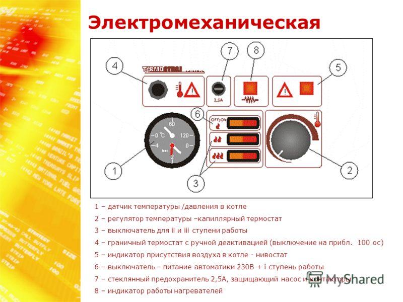 Электромеханическая 1 – датчик температуры /давления в котле 2 – регулятор температуры –капиллярный термостат 3 – выключатель для ii и iii ступени работы 4 – граничный термостат с ручной деактивацией (выключение на прибл. 100 oc) 5 – индикатор присут