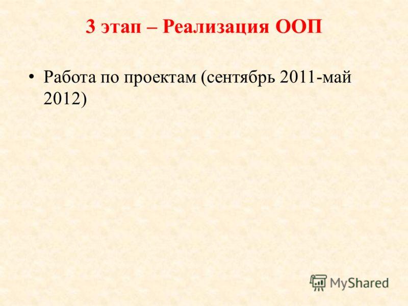 3 этап – Реализация ООП Работа по проектам (сентябрь 2011-май 2012)