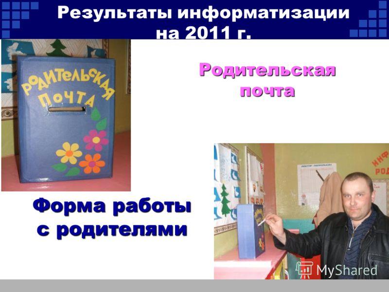 Родительская почта Форма работы с родителями Результаты информатизации на 2011 г.