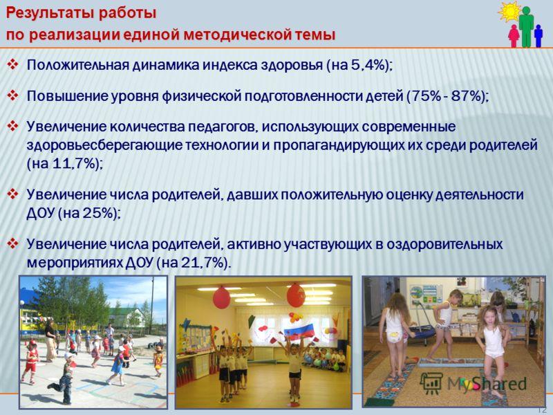 Результаты работы по реализации единой методической темы Положительная динамика индекса здоровья (на 5,4%); Повышение уровня физической подготовленности детей (75% - 87%); Увеличение количества педагогов, использующих современные здоровьесберегающие