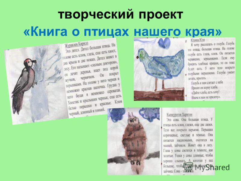 творческий проект «Книга о птицах нашего края»