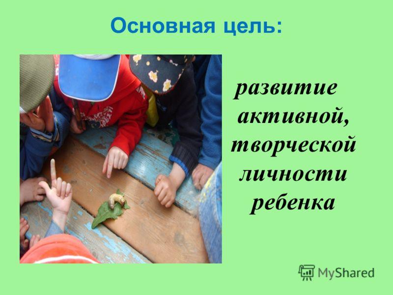 Основная цель: развитие активной, творческой личности ребенка