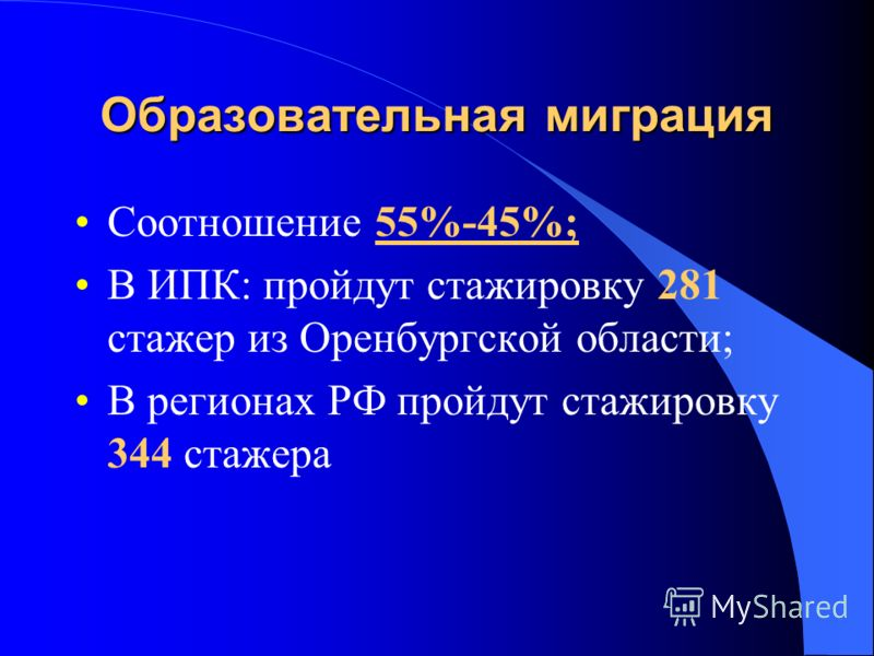 Образовательная миграция Соотношение 55%-45%; В ИПК: пройдут стажировку 281 стажер из Оренбургской области; В регионах РФ пройдут стажировку 344 стажера