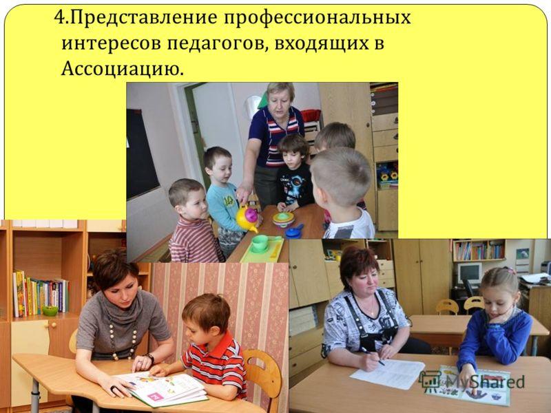 4. Представление профессиональных интересов педагогов, входящих в Ассоциацию.