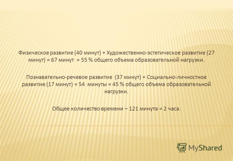 Физическое развитие (40 минут ) + Художественно - эстетическое развитие (27 минут ) = 67 минут = 55 % общего объема образовательной нагрузки. Познавательно - речевое развитие (37 минут ) + Социально - личностное развитие (17 минут ) = 54 минуты = 45