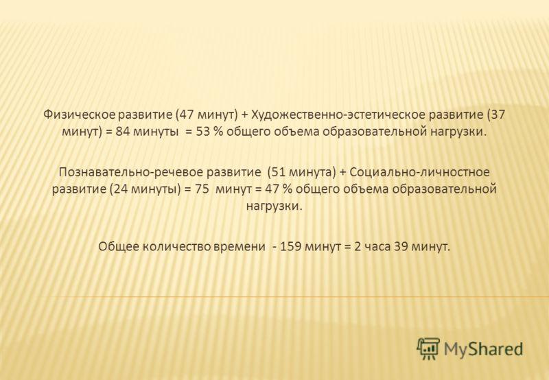 Физическое развитие (47 минут ) + Художественно - эстетическое развитие (37 минут ) = 84 минуты = 53 % общего объема образовательной нагрузки. Познавательно - речевое развитие (51 минута ) + Социально - личностное развитие (24 минуты ) = 75 минут = 4