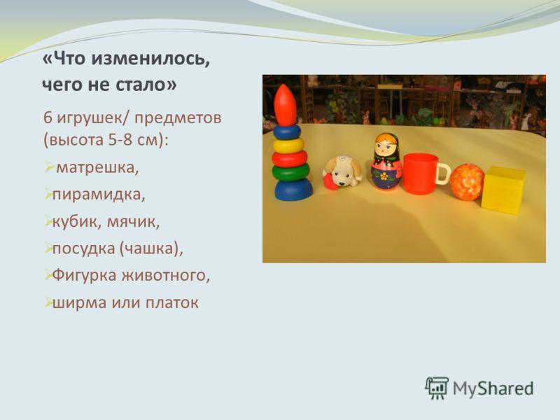 «Что изменилось, чего не стало» 6 игрушек/ предметов (высота 5-8 см): матрешка, пирамидка, кубик, мячик, посудка (чашка), Фигурка животного, ширма или платок