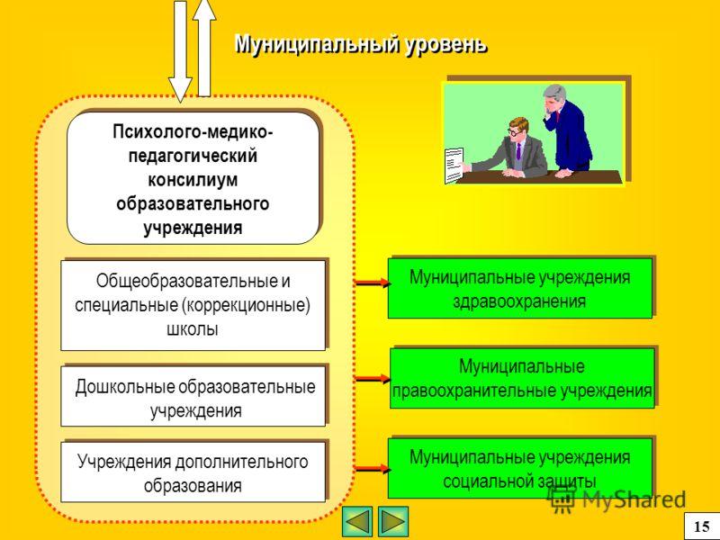 Муниципальный уровень Психолого-медико- педагогический консилиум образовательного учреждения Общеобразовательные и специальные (коррекционные) школы Дошкольные образовательные учреждения Учреждения дополнительного образования Муниципальные учреждения