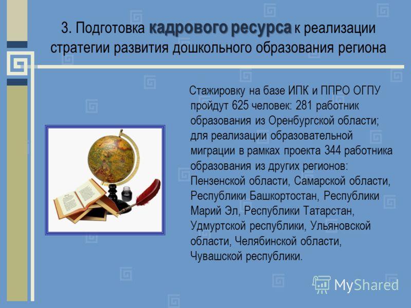 Стажировку на базе ИПК и ППРО ОГПУ пройдут 625 человек: 281 работник образования из Оренбургской области; для реализации образовательной миграции в рамках проекта 344 работника образования из других регионов: Пензенской области, Самарской области, Ре