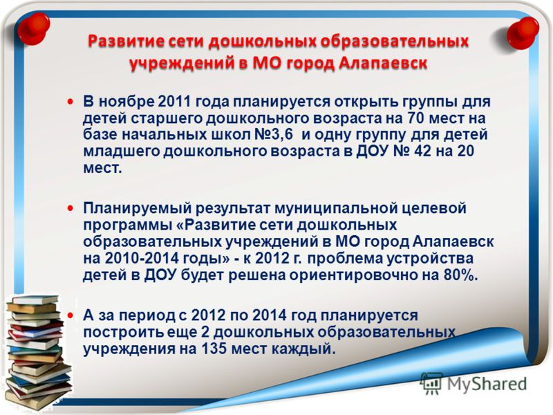 Развитие сети дошкольных образовательных учреждений в МО город Алапаевск В ноябре 2011 года планируется открыть группы для детей старшего дошкольного возраста на 70 мест на базе начальных школ 3,6 и одну группу для детей младшего дошкольного возраста
