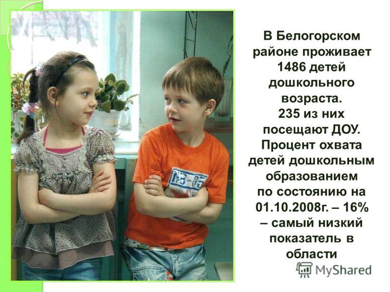 В Белогорском районе проживает 1486 детей дошкольного возраста. 235 из них посещают ДОУ. Процент охвата детей дошкольным образованием по состоянию на 01.10.2008г. – 16% – самый низкий показатель в области