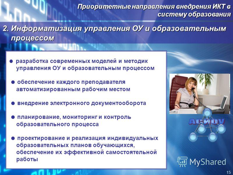 Приоритетные направления внедрения ИКТ в систему образования 15 2. Информатизация управления ОУ и образовательным процессом разработка современных моделей и методик управления ОУ и образовательным процессом обеспечение каждого преподавателя автоматиз