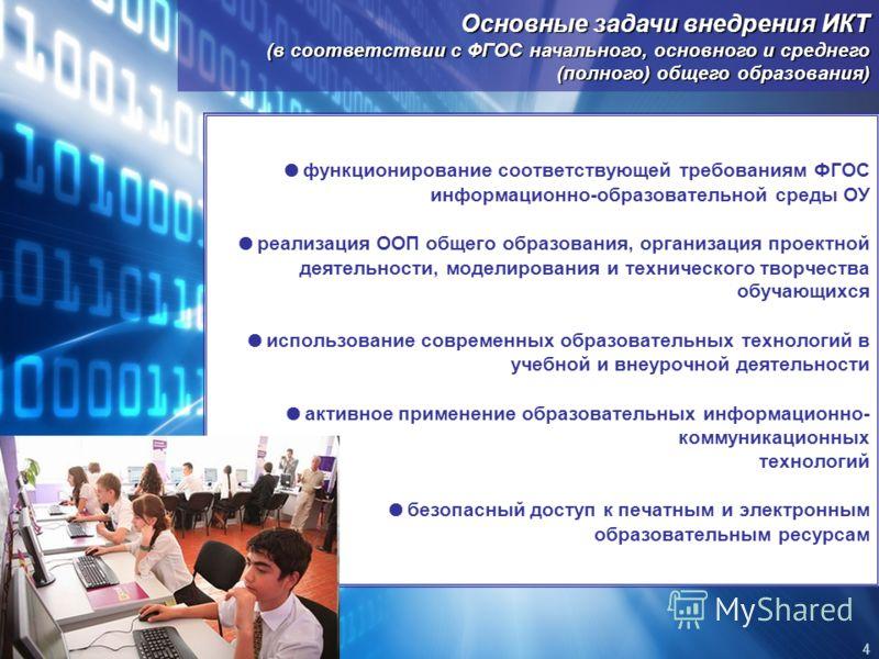 Основные задачи внедрения ИКТ (в соответствии с ФГОС начального, основного и среднего (полного) общего образования) функционирование соответствующей требованиям ФГОС информационно-образовательной среды ОУ реализация ООП общего образования, организаци