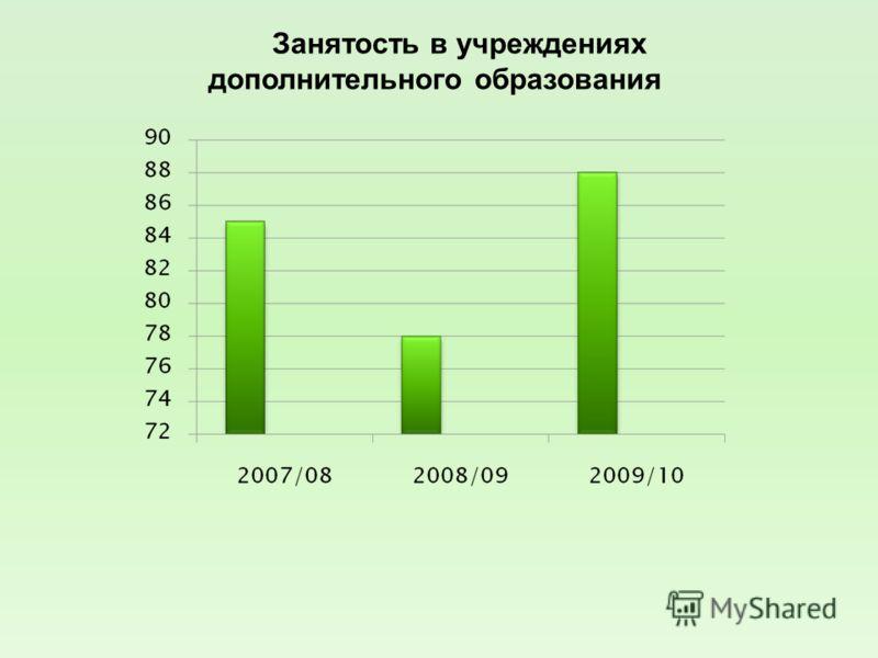 Занятость в учреждениях дополнительного образования