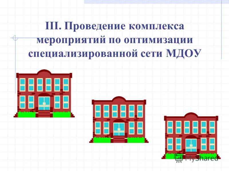 III. Проведение комплекса мероприятий по оптимизации специализированной сети МДОУ