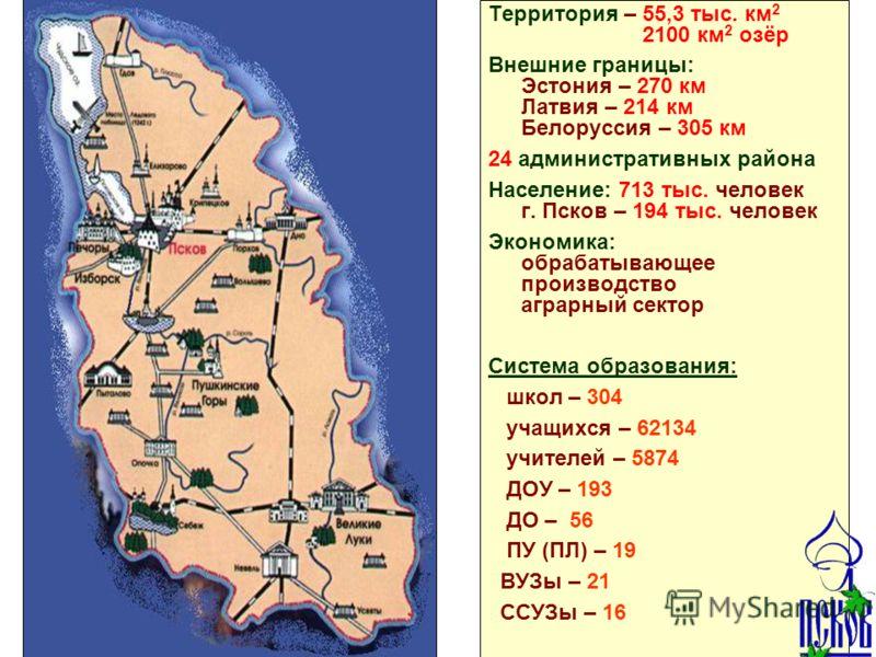 Псковская область Территория – 55,3 тыс. км 2 2100 км 2 озёр Внешние границы: Эстония – 270 км Латвия – 214 км Белоруссия – 305 км 24 административных района Население: 713 тыс. человек г. Псков – 194 тыс. человек Экономика: обрабатывающее производст