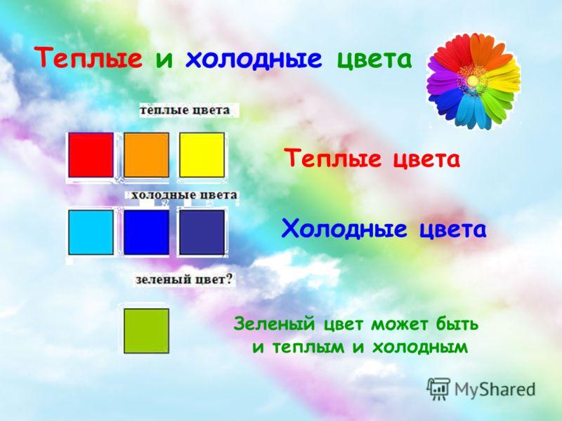 Теплые и холодные цвета Зеленый цвет может быть и теплым и холодным Теплые цвета Холодные цвета