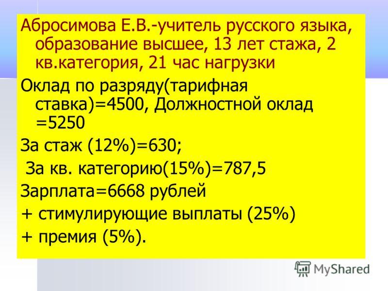 Абросимова Е.В.-учитель русского языка, образование высшее, 13 лет стажа, 2 кв.категория, 21 час нагрузки Оклад по разряду(тарифная ставка)=4500, Должностной оклад =5250 За стаж (12%)=630; За кв. категорию(15%)=787,5 Зарплата=6668 рублей + стимулирую