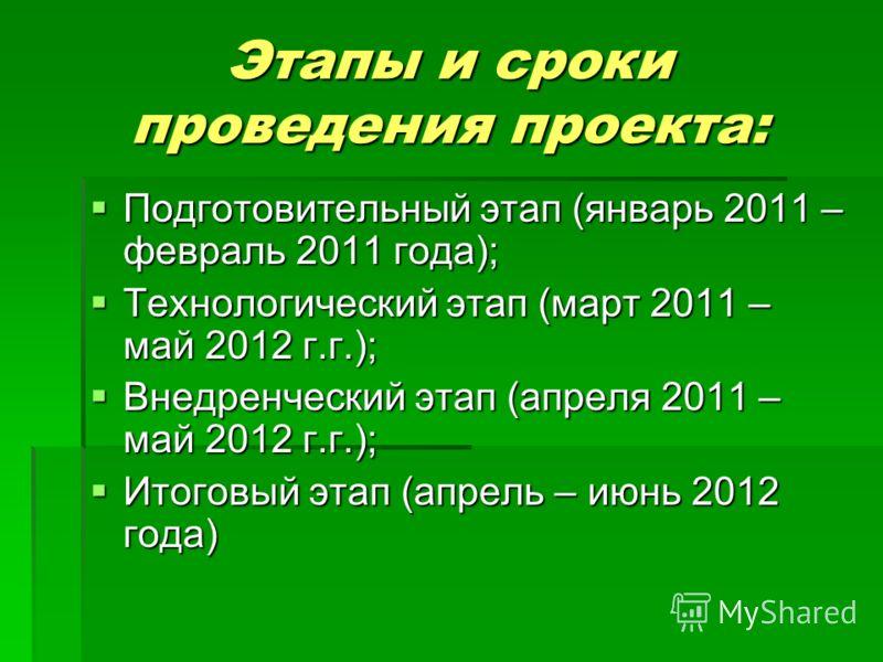 Этапы и сроки проведения проекта: Подготовительный этап (январь 2011 – февраль 2011 года); Подготовительный этап (январь 2011 – февраль 2011 года); Технологический этап (март 2011 – май 2012 г.г.); Технологический этап (март 2011 – май 2012 г.г.); Вн