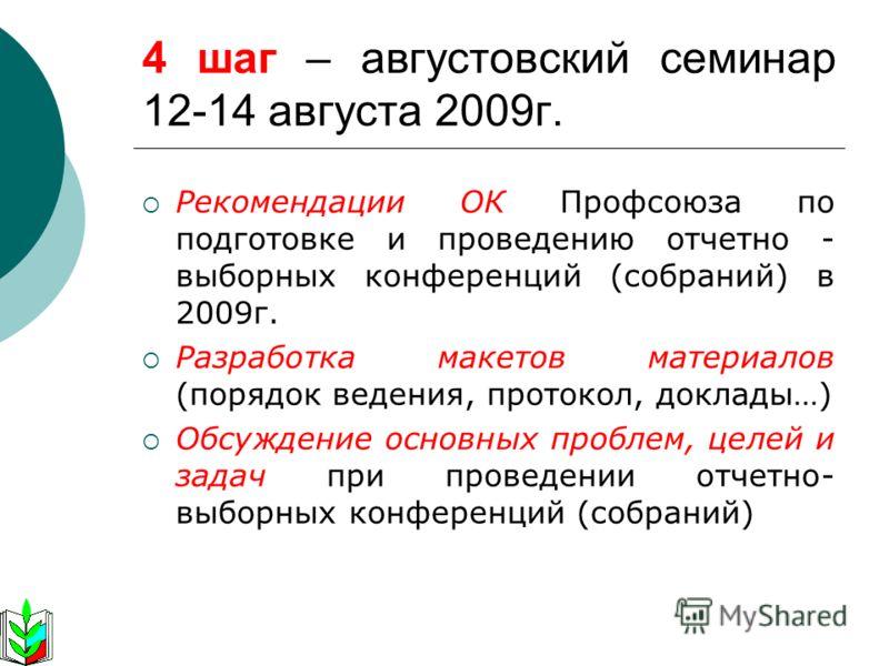 Рекомендации ОК Профсоюза по подготовке и проведению отчетно - выборных конференций (собраний) в 2009г. Разработка макетов материалов (порядок ведения, протокол, доклады…) Обсуждение основных проблем, целей и задач при проведении отчетно- выборных ко