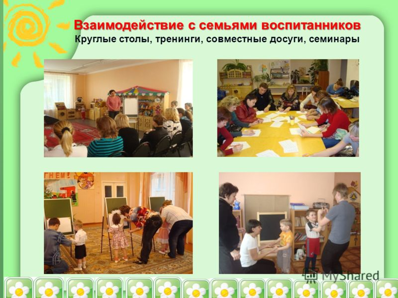 Взаимодействие с семьями воспитанников Круглые столы, тренинги, совместные досуги, семинары