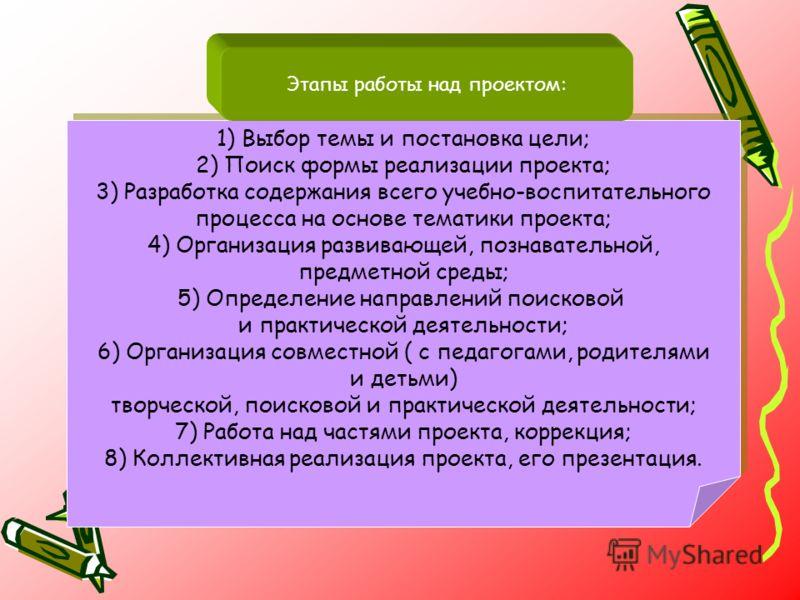 : 1) Выбор темы и постановка цели; 2) Поиск формы реализации проекта; 3) Разработка содержания всего учебно-воспитательного процесса на основе тематики проекта; 4) Организация развивающей, познавательной, предметной среды; 5) Определение направлений