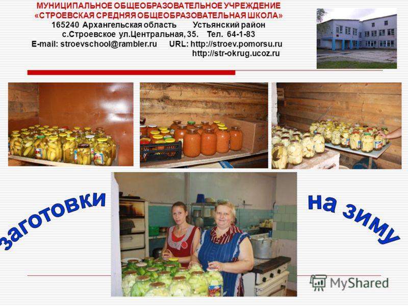 МУНИЦИПАЛЬНОЕ ОБЩЕОБРАЗОВАТЕЛЬНОЕ УЧРЕЖДЕНИЕ «СТРОЕВСКАЯ СРЕДНЯЯ ОБЩЕОБРАЗОВАТЕЛЬНАЯ ШКОЛА» 165240 Архангельская область Устьянский район с.Строевское ул.Центральная, 35. Тел. 64-1-83 E-mail: stroevschool@rambler.ru URL: http://stroev.pomorsu.ru http