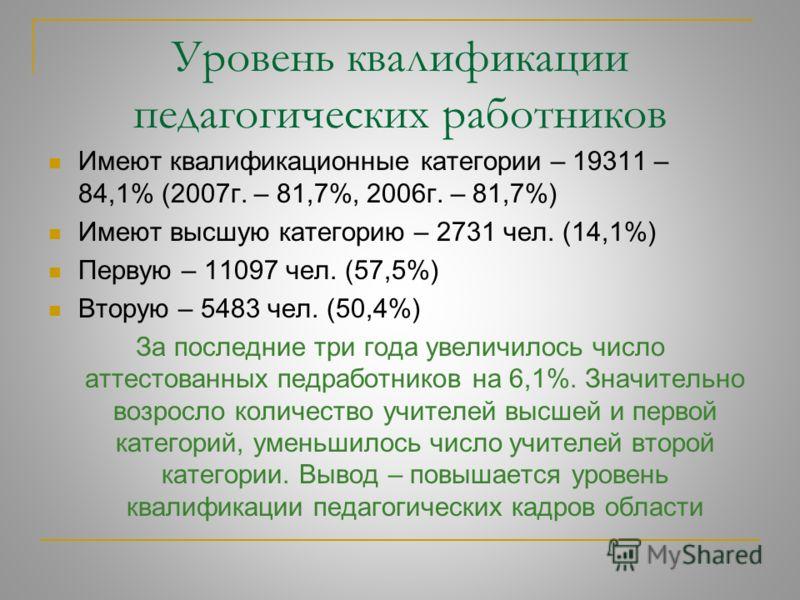 В школах области работают 19207 женщин-педагогов, что составляет 85,7%, и 3202 мужчины (14,3%). По сравнению с 2007 г., в сельских школах мужчин стало больше на 1,2 %
