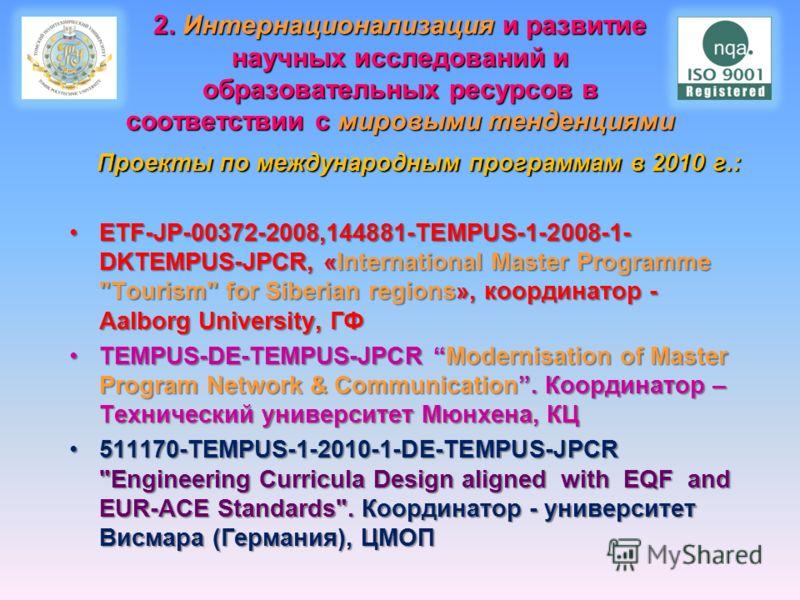2. Интернационализация и развитие научных исследований и образовательных ресурсов в соответствии с мировыми тенденциями Проекты по международным программам в 2010 г.: Проекты по международным программам в 2010 г.: ETF-JP-00372-2008,144881-TEMPUS-1-20
