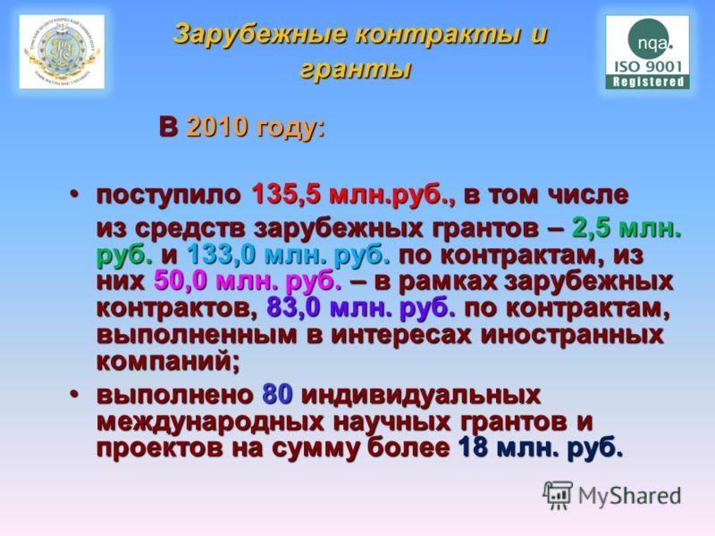 Зарубежные контракты и гранты В 2010 году: В 2010 году: поступило 135,5 млн.руб., в том числепоступило 135,5 млн.руб., в том числе из средств зарубежных грантов – 2,5 млн. руб. и 133,0 млн. руб. по контрактам, из них 50,0 млн. руб. – в рамках зарубеж