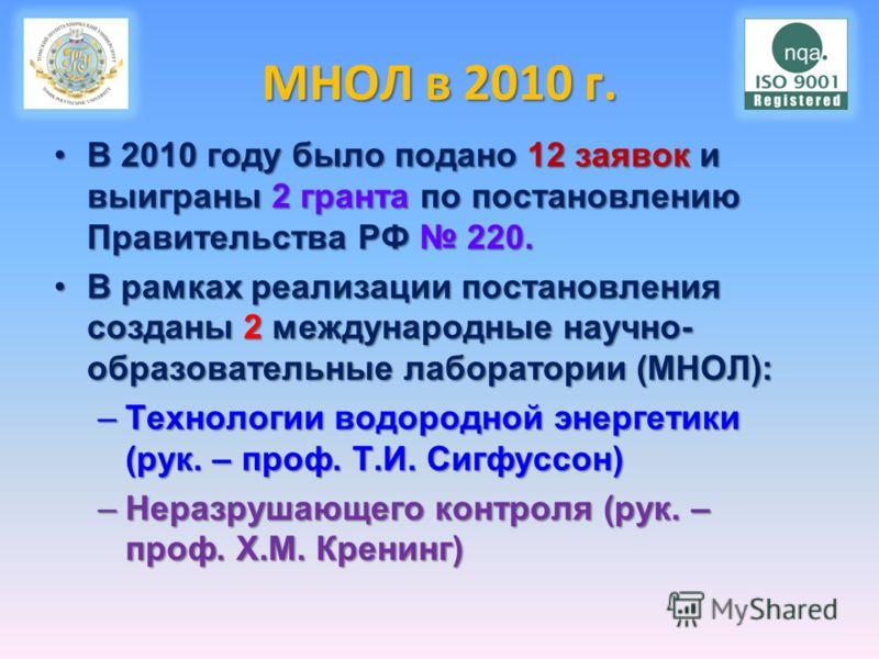 МНОЛ в 2010 г. В 2010 году было подано 12 заявок и выиграны 2 гранта по постановлению Правительства РФ 220.В 2010 году было подано 12 заявок и выиграны 2 гранта по постановлению Правительства РФ 220. В рамках реализации постановления созданы 2 междун