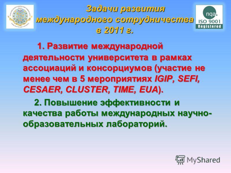 Задачи развития международного сотрудничества в 2011 г. Задачи развития международного сотрудничества в 2011 г. 1. Развитие международной деятельности университета в рамках ассоциаций и консорциумов (участие не менее чем в 5 мероприятиях IGIP, SEFI,