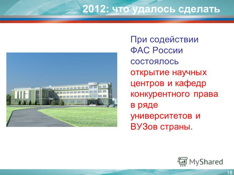 2012: что удалось сделать При содействии ФАС России состоялось открытие научных центров и кафедр конкурентного права в ряде университетов и ВУЗов страны. 18