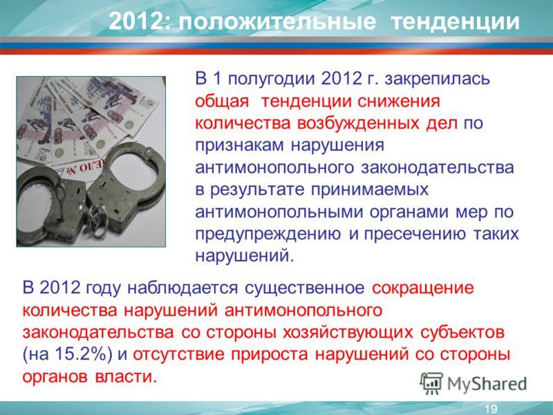 2012: положительные тенденции В 1 полугодии 2012 г. закрепилась общая тенденции снижения количества возбужденных дел по признакам нарушения антимонопольного законодательства в результате принимаемых антимонопольными органами мер по предупреждению и п