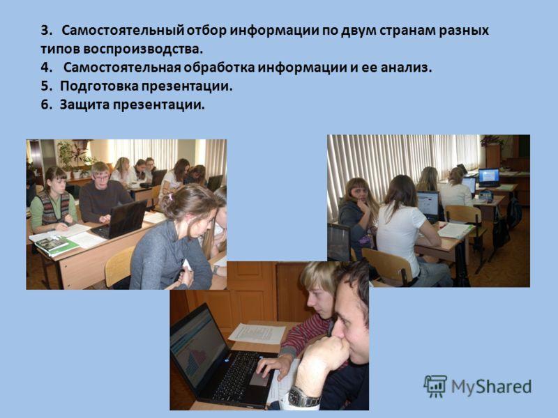 3.Самостоятельный отбор информации по двум странам разных типов воспроизводства. 4. Самостоятельная обработка информации и ее анализ. 5. Подготовка презентации. 6. Защита презентации.
