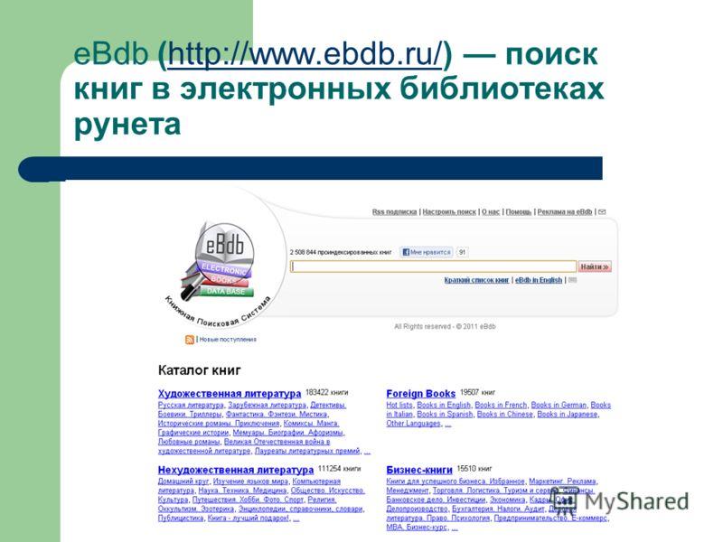 eBdb (http://www.ebdb.ru/) поиск книг в электронных библиотеках рунетаhttp://www.ebdb.ru/ На сайте доступны следующие разделы: «художественная литература»; «нехудожественная литература»; «детям и родителям»; «foreign books»; «Бизнес- книги».