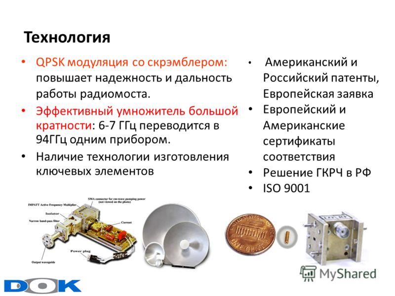 Технология QPSK модуляция со скрэмблером: повышает надежность и дальность работы радиомоста. Эффективный умножитель большой кратности: 6-7 ГГц переводится в 94ГГц одним прибором. Наличие технологии изготовления ключевых элементов Американский и Росси
