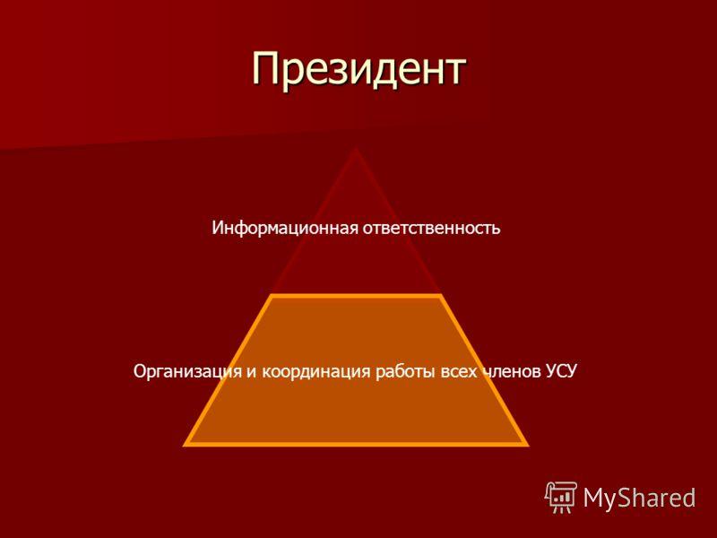 Президент Информационная ответственность Организация и координация работы всех членов УСУ