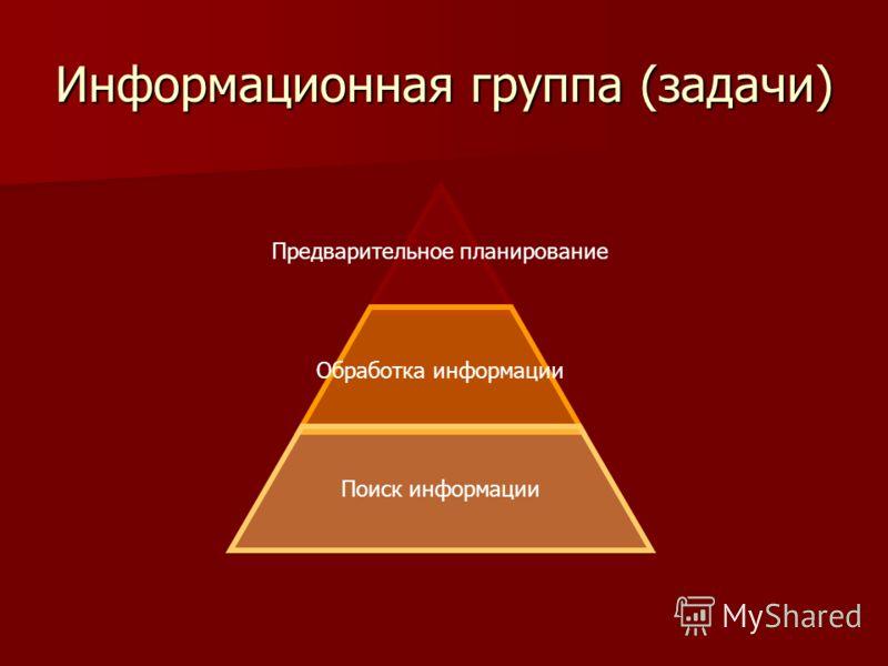Информационная группа (задачи) Предварительное планирование Обработка информации Поиск информации