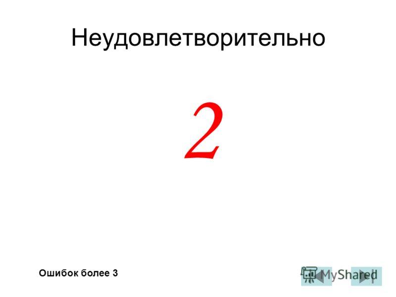 Неудовлетворительно 2 Ошибок более 3