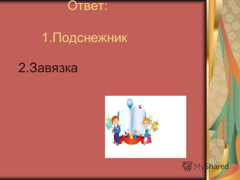 Ответ: 1.Подснежник 2.Завязка (ПодснежникЗавязка)(ПодснежникЗавязка) к)к)