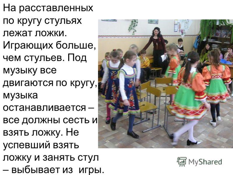 На расставленных по кругу стульях лежат ложки. Играющих больше, чем стульев. Под музыку все двигаются по кругу, музыка останавливается – все должны сесть и взять ложку. Не успевший взять ложку и занять стул – выбывает из игры.