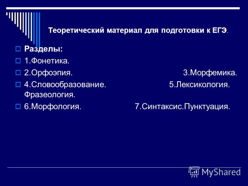 Теоретический материал для подготовки к ЕГЭ. Разделы: 1.Фонетика. 2.Орфоэпия. 3.Морфемика. 4.Словообразование. 5.Лексикология. Фразеология. 6.Морфология. 7.Синтаксис.Пунктуация.