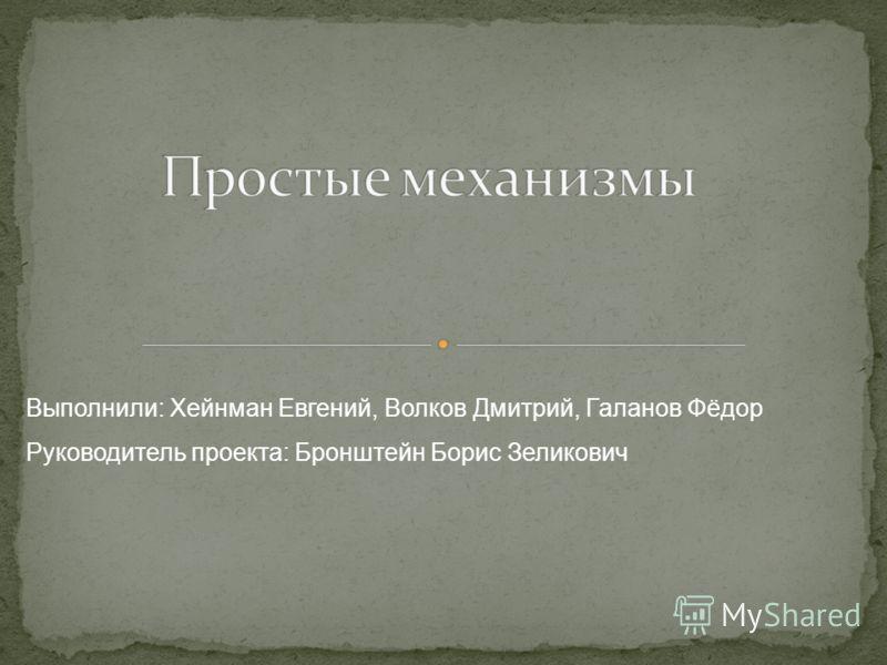 Выполнили: Хейнман Евгений, Волков Дмитрий, Галанов Фёдор Руководитель проекта: Бронштейн Борис Зеликович