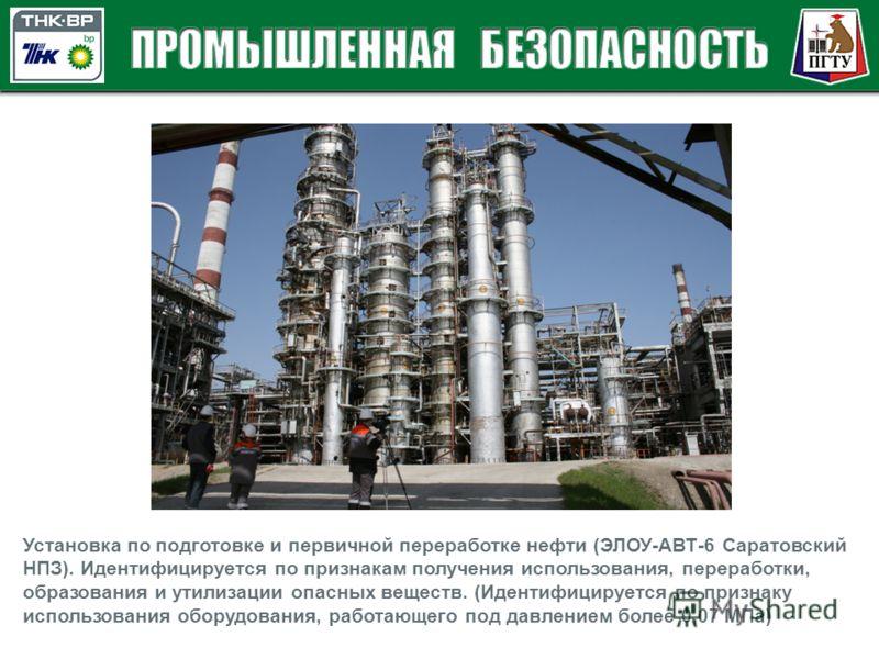 Установка по подготовке и первичной переработке нефти (ЭЛОУ-АВТ-6 Саратовский НПЗ). Идентифицируется по признакам получения использования, переработки, образования и утилизации опасных веществ. (Идентифицируется по признаку использования оборудования