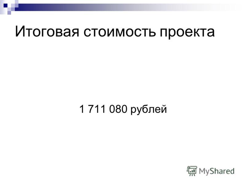 Итоговая стоимость проекта 1 711 080 рублей