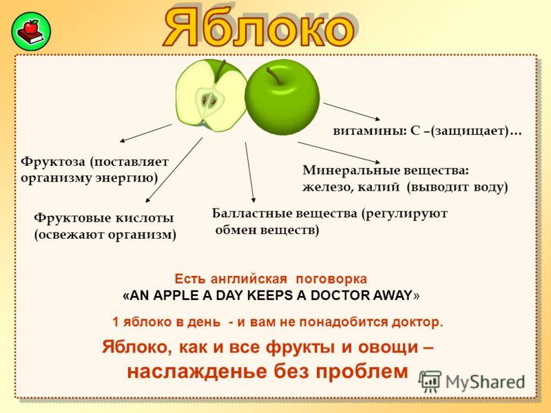 Фруктоза (поставляет организму энергию) витамины: С –(защищает)… Минеральные вещества: железо, калий (выводит воду) Балластные вещества (регулируют обмен веществ) Фруктовые кислоты (освежают организм) Есть английская поговорка «AN APPLE A DAY KEEPS A