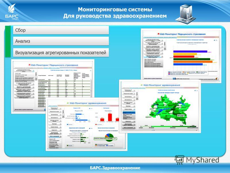 Мониторинговые системы Для руководства здравоохранением БАРС.Здравоохранение Сбор Анализ Визуализация агрегированных показателей