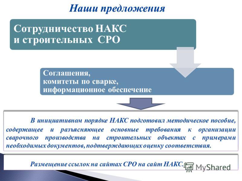 В инициативном порядке НАКС подготовил методическое пособие, содержащее и разъясняющее основные требования к организации сварочного производства на строительных объектах с примерами необходимых документов, подтверждающих оценку соответствия. В инициа